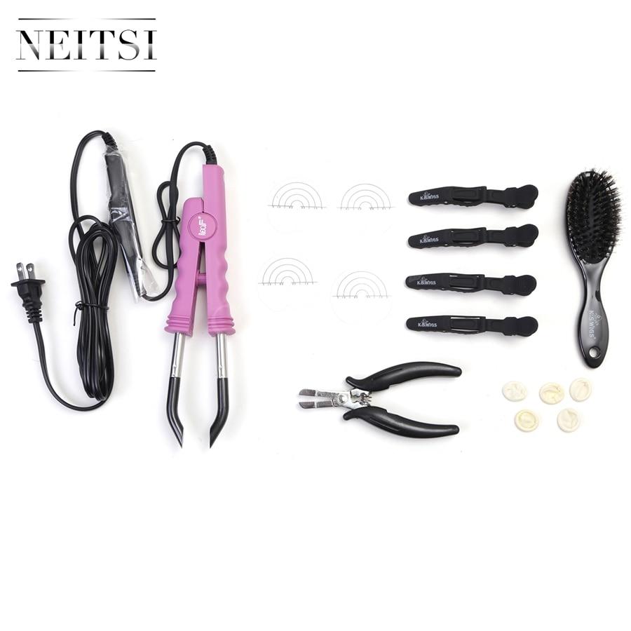 Neitsi Hair Extensions Connector Pink Black USA plug & Hair Iron Tools(Pier, Brush, U Tips, Heat Protector Shield, Hair Clips)