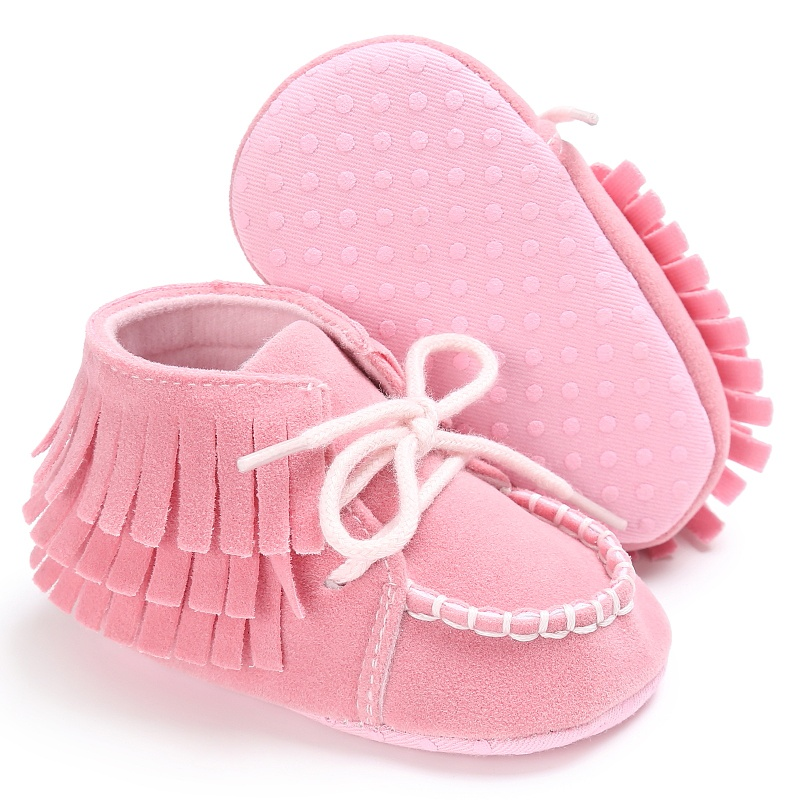 Baby Girls Boys Moccasins Soft Shoes Kids First Walkers Lace-Up Stitched Bootsbaby Scrub Strap Baby Soft Bottom Anti-skid Shoes