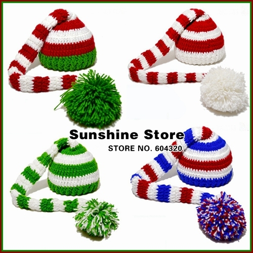 Sunshine store #3C2634  5 pcs/lot(6 colors)green red white baby hat handmade crochet hats, long tails, Christmas hat beanie CPAM