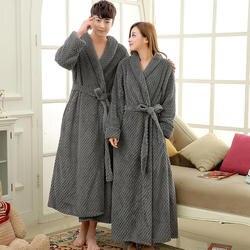 Мужской удлиненный толстый теплый зимний халат шелковый мягкий вафельный фланелевый банный халат мужской кимоно халаты с длинным рукавом