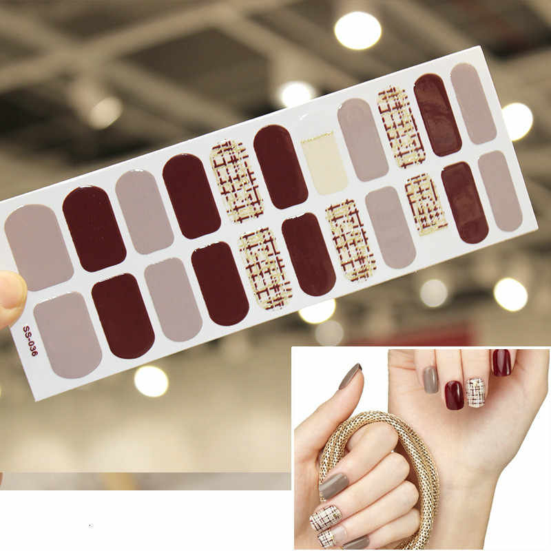 New French Nail Wraps 22 Tips Nail Art Stickers Stripes Designs Waterproof Nail Polish Full Cover Manicure Patch Makeup Tools