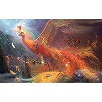 5D DIY diamond painting rise of the phoenix animal full drill round diamond embroidery cross stitch rhinesto mosaic decor