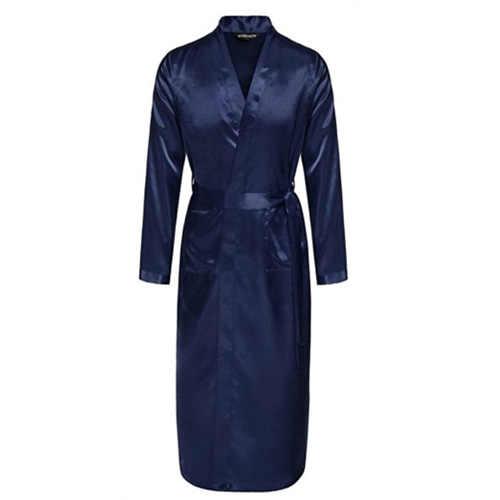 海軍ブルー中国のメンズシルクレーヨンローブ夏のカジュアルパジャマ V ネック着物浴衣風呂ガウンサイズ SML XL XXL