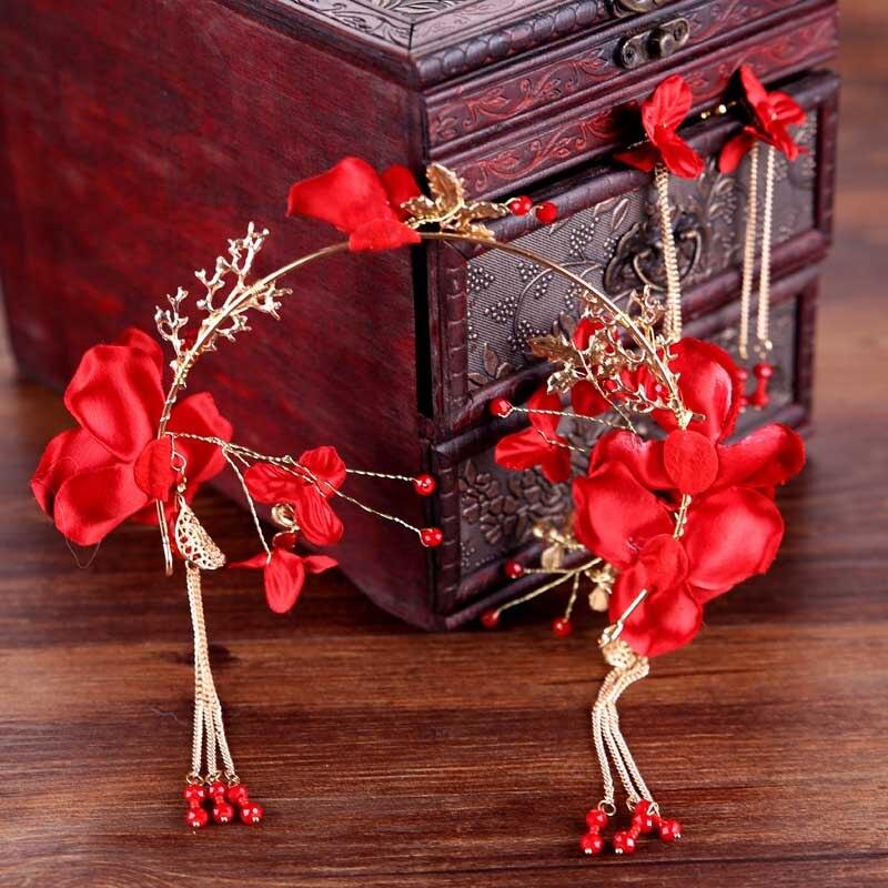 Chinese Style Red Flower Crystal Tassels Bridal Headband Earrings Wedding Bride Tiara Headpiece Hair Jewelry Set SL