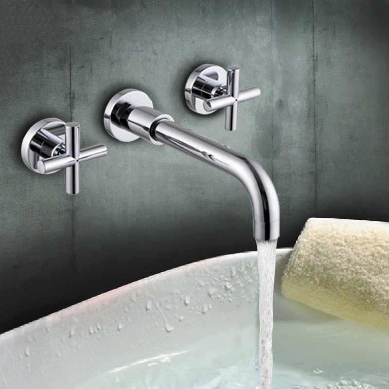 Matowy czarny mosiądz podwójny uchwyt ścienny umywalka do łazienki kran gorący i kran do zimnej wody czarny kran szczotkowane złoto