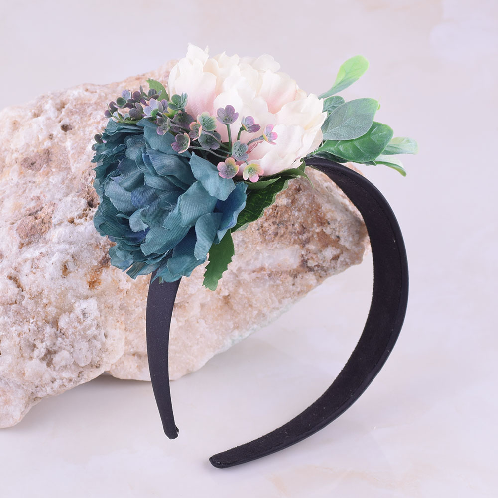 CXADDITIONS Hair Band Floral Crown Headband Big Peony Flower Grass Leaves Black Head Hairband Women Girls Bridesmaids Wedding
