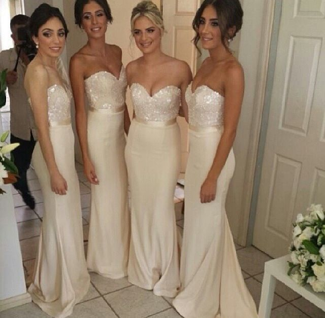 Beige Lace Bridesmaid Dresses