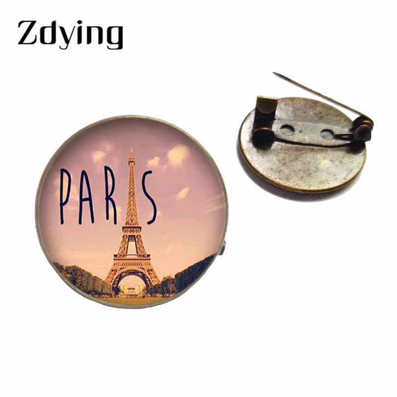 ZDYING Vintage 20mm/25mm France Paris Eiffel Tower Badge Metal Brooch Glass Cabochon Photo Dome Brooches Pins Gift EF004