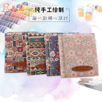 Three Folded Genuine Leather Short Wallet Handmade Lady Clutch Floral Wallet Portable Warm Color Money Purse