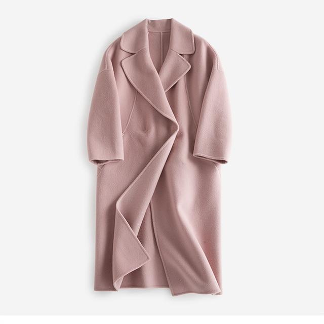2017 חורף נשים צמר ותערובות אופנה מעיל