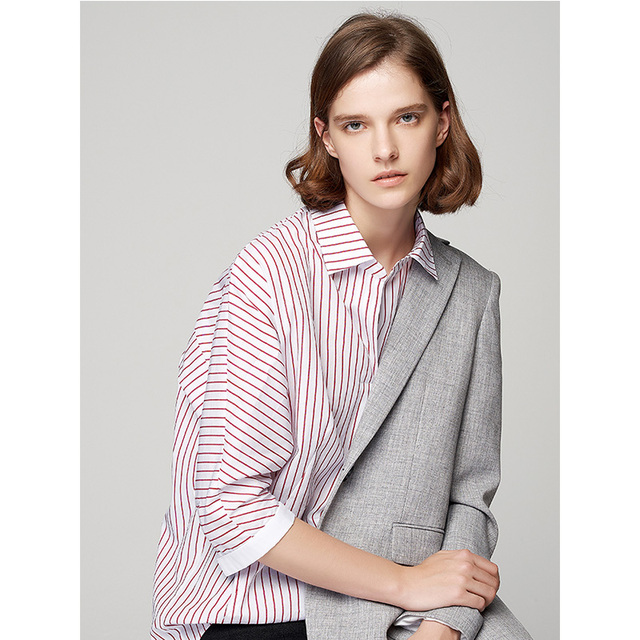 Autumn Striped Shirts OL Style Three Quarter Batwing Sleeve Blouses And Shirt Irregular Hem Blusas Mujer