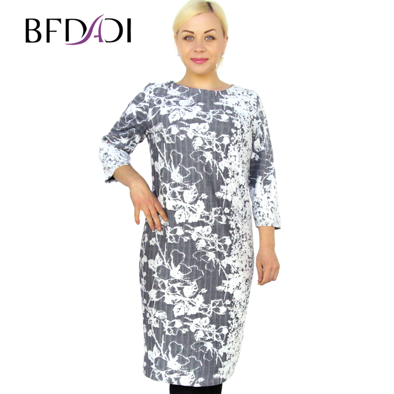 BFDADI 2016 Spring Plus Size Women Casual Straight Print O ...