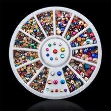DIY nail art decorations Nail Wheel 2mm 3mm mix color crystal Acrylic Glitter Nail Rhinestones