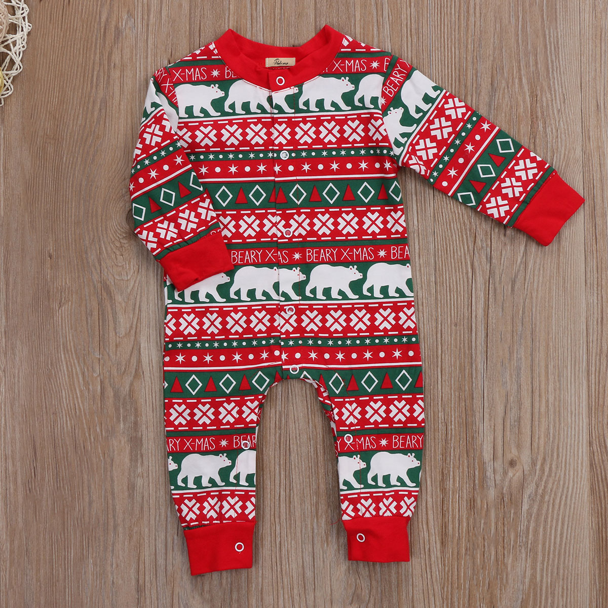 Cotton Newborn Infant Boy Girl Romper Baby Christmas Jumpsuit Long Sleeve Full Print Warm Fall Clothes