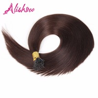Alishow Pre Bonded Hair Extensions Remy Hair Silky Straight 16inch 100g I Tip Human Hair 1g/strands Keratin Human Hair