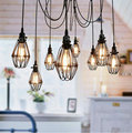 Vintage America Country Industrial Iron Birdcage Pendant Lamp Loft Edison Spider HangLamp Luminarias Flower Suspension Light