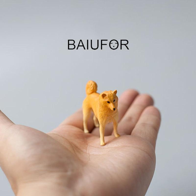 BAIUFOR Animals Miniatures & Figurines Yellow Dog Plastic Craft DIY Fairy Garden Miniature Desktop Decor Home Accessories