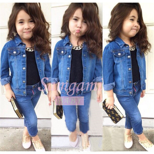 1e67719487 Retail Girls Clothing Sets 2015 New Cotton Fashion Long-sleeved Denim Jacket  + Black Vest T-shirt + Jeans 3pcs Baby Girl Clothes