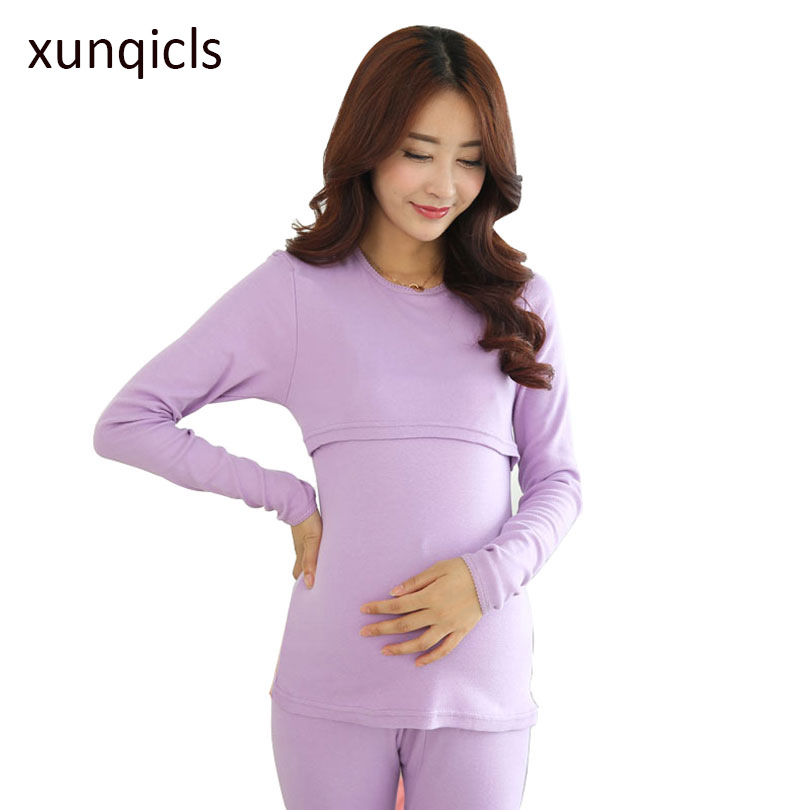 xunqicls Maternity Clothes Pregnant Pajama Set Winter Autumn Maternity Nursing Clothing