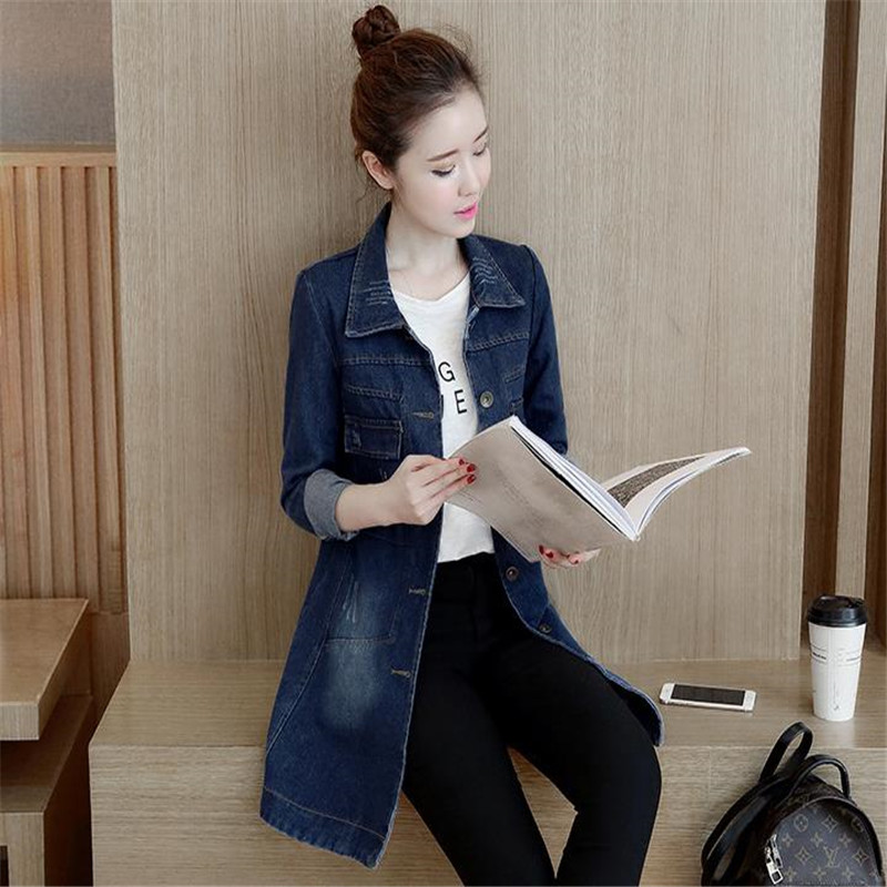 2019Denim Jacket Korean Female Jacket Classic Blue Denim Coat Relaxed Fit Tops Long Sleeve Outwear long Denim Jacket WomenHC072