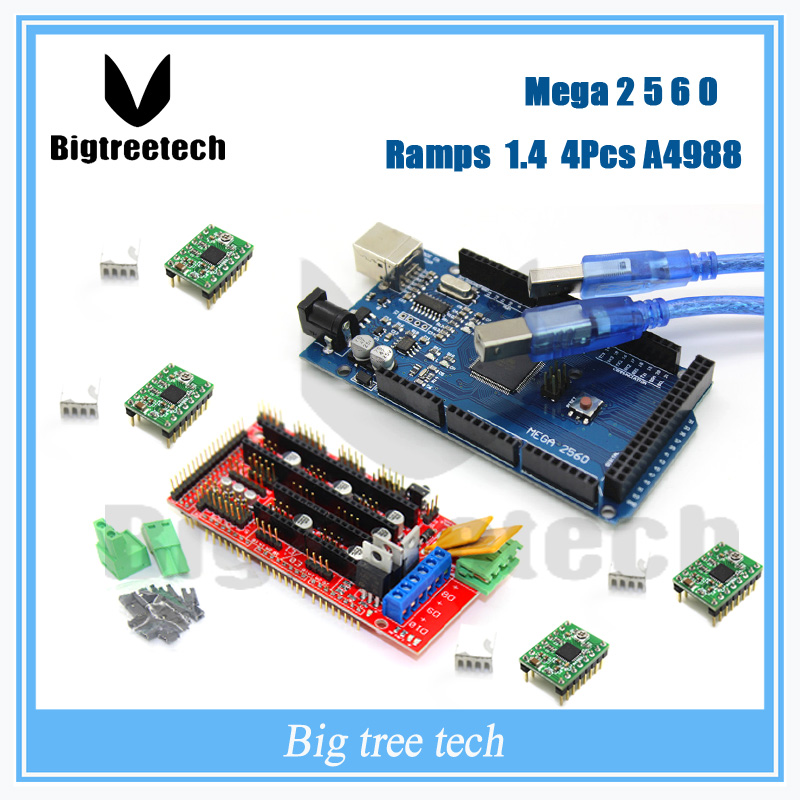 3D Printer kit Reprap Mega 2560 R3 for arduino 1pcs RAMPS 1 4 Controller 4pcs A4988