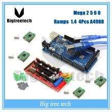 3D-принтеры комплект RepRap MendelPrusa MEGA 2560 R3 для Arduino + 1 шт. ПЛАТФОРМЫ 1.4 контроллер + 4 шт. A4988 Степпер модуль драйвера