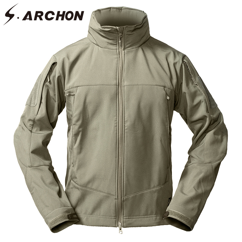 S.ARCHON Soft Shell Tactical Fleece Jackets Men Winter Windbreaker Warm Military Jacket Outerwear Hooded Waterproof Army Coats lurker shark skin soft shell v4 military tactical jacket men waterproof windproof warm coat camouflage hooded camo army clothing