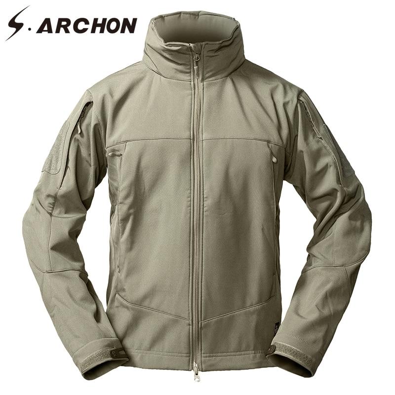S.ARCHON Soft Shell Tactical Fleece Jackets Men Winter Windbreaker Warm Military Jacket Outerwear Hooded Waterproof Army Coats