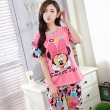 Woman Pajamas Sets 2017 Summer Short Sleeve Thin Cotton Home Wear Cloth Cartoon Print Loose Sleepwear Set Pyjama For Women