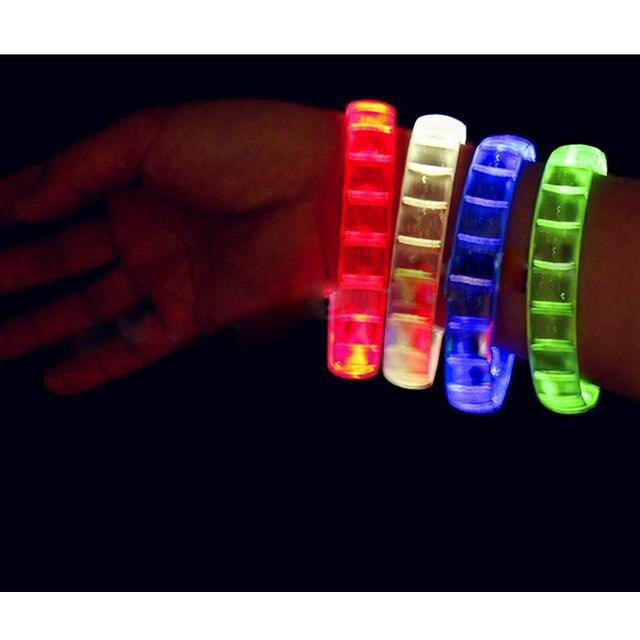 10pcs/lot New fashion plastic  LED hand Wrist Band multicolor Flashing Light Up paryt birthday glowing Bracelet toys