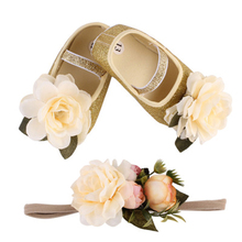 Newborn Princess First Walkers Baby Girls Big Floral Shoes+