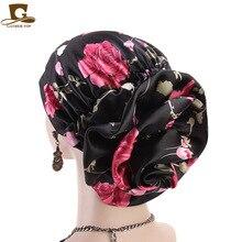 Yeni lüks ipeksi çiçek türban kadın saten kanser kemo kasketleri kapaklar müslüman Turbante parti başörtüsü şapkalar saç aksesuarları