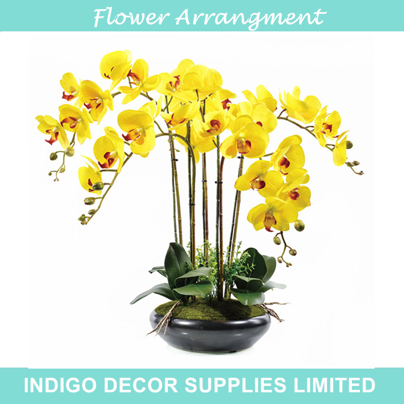 Real touch yellow flower bouquet flower arrangment orchids with real touch yellow flower bouquet flower arrangment orchids with leaves wedding party fake flower event flower free shipping in artificial dried flowers mightylinksfo