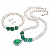 SNH AAA 8mm Button Pearl Set Natural Cultured Freshwater Pearl Fine Jewelry Sets Design For Women