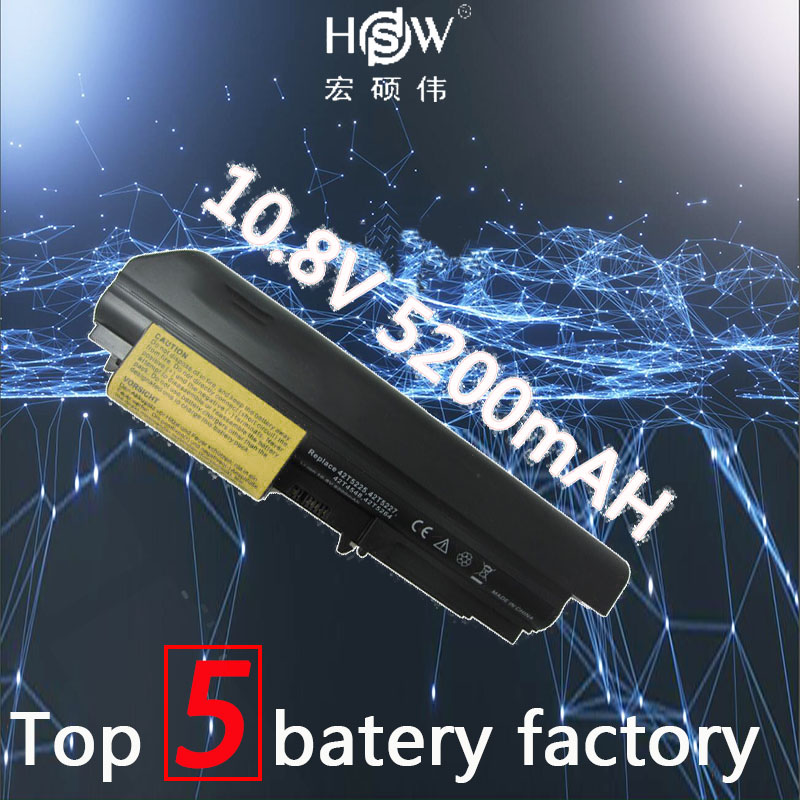 HSW 5200mAh 6 cells BATTERIA new replacement rechargeable laptop Battery For IBM Lenovo ThinkPad T61 R61 R61i T61u R400 T400