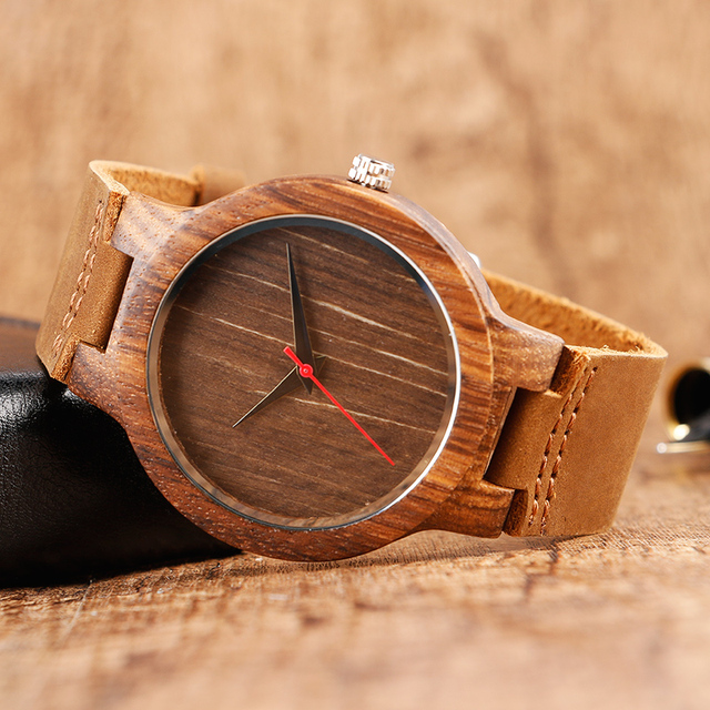 Unisex Natural Bamboo Simple Style Analog Watch