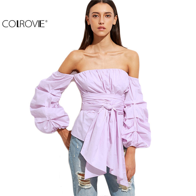 COLROVIE Purple Off The Shoulder Billow Sleeve Wrap Blouse Off Shoulder Top Women Tops and Blouses 2017 New Fashion Blouse