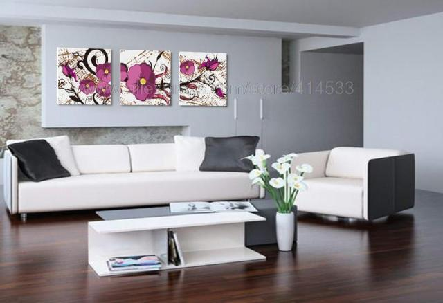 Nice Flowers Reproduction Print On Canvas Discount Decoration High Quality 3 Set  Living Room Wall Decor Paintings