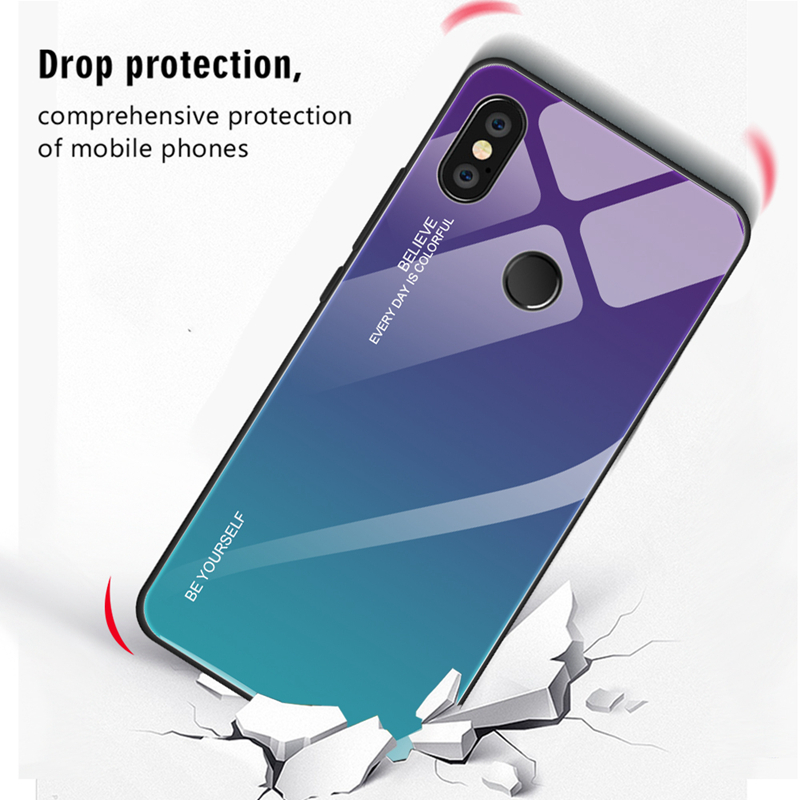 3bf947b770 Gradient Tempered Glass Case For Xiaomi Mi 8 Lite Mi A2 Lite A1 Mix 3 2S 6  Redmi 6 Pro 6A 5 Plus Note 5 6 Pro Pocophone F1 Note 7 Case Cover