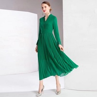Top Grade Fashion 2019 Spring Long Dresses Women V Neck Hollow Out Lace Embroidery Patchwork Long Sleeve Pleated Maxi Dress XXL