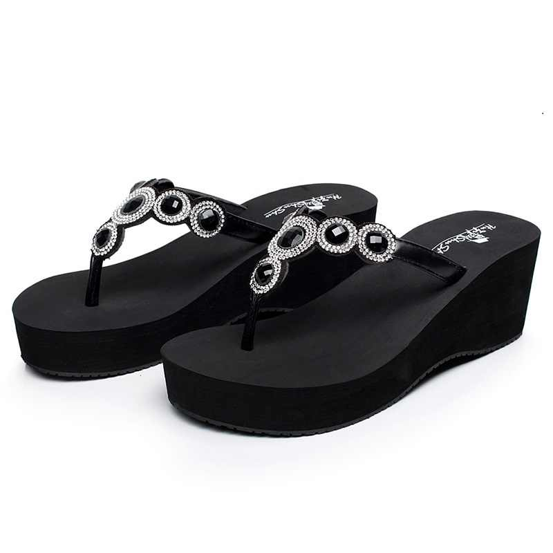 HIGH quality womens Flip Flops diamond flats Slippers Beach Shoes crystal Outdoor Platform Sandals Ladies Casual Fashion shoes