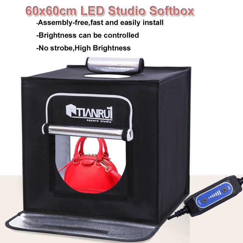 60x60cm Portable LED Photo Studio Softbox Shooting Light Tent Soft Box AC Adapter for Phone Camera