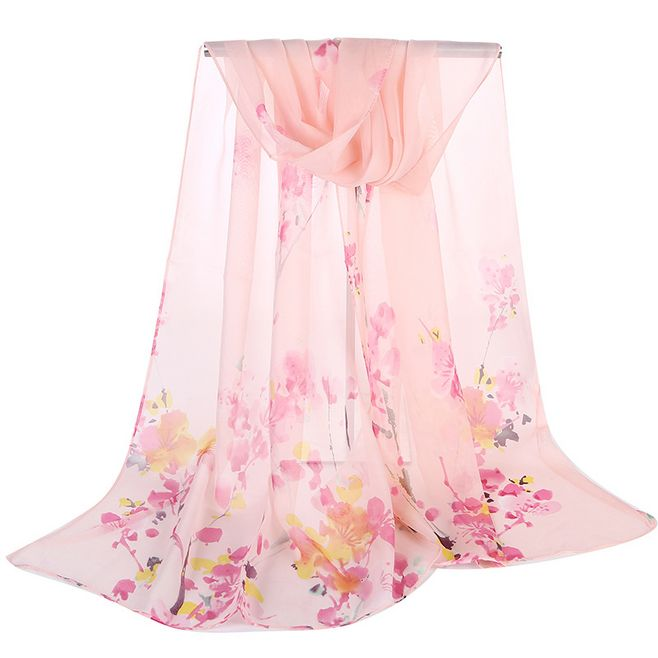 New 2018 Women's Ink Plum Blossom Printed   Scarf     Wraps   Chiffon Beach Shawls Thin Soft Pashmina