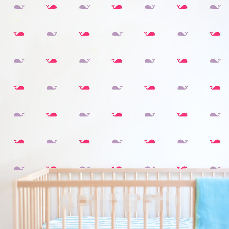 DIY HOme Decal Set of 32 Pcs Whale Wall Stickers Nursery Kids Baby Room Decor Art Removable Vinyl Murals S 7 in Wall Stickers from Home Garden