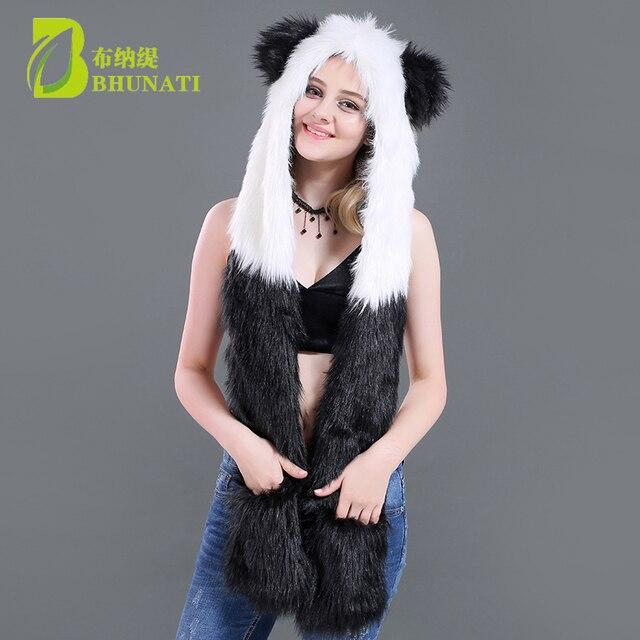 ff66b5659904d 2018 new winter Faux Fur Hood Animal Hoods Hat panda white black cute animal  feux fur hat cap Beanies Cartoon Wolf Hat