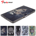TopArmor Tiger Owl Painted Flip Leather For Samsung Galaxy Tab S 8.4 Case For Samsung Galaxy Tab S T700 T705 Smart Case Cover