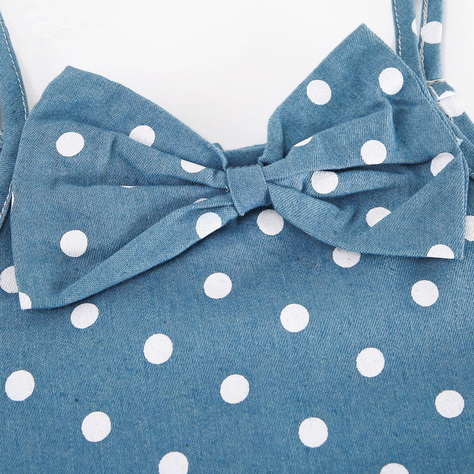 998a51868 Girls Denim Dress Children Clothing Kids Polka Dot Dress Vintage Baby Girls  Summer Girl Dress Bow Girls Holiday Clothes Casual-in Dresses from Mother &  Kids ...