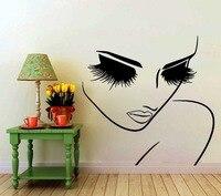 Hair Beauty Salon Decal Vinyl Sticker Woman Long Lashes Closeup Makeup Art Home Decor Window Decals Bedroom Living Room Murals