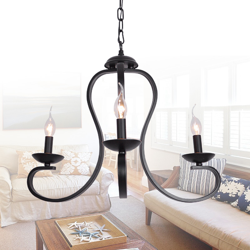 Simple Iron Chandelier Candle American Living Room Atmosphere Restaurant Art In Pendant Lights From
