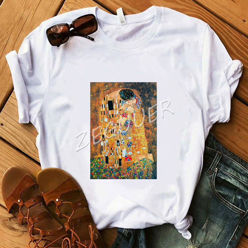 Women White Classic T-Shirt The Kiss Art Oil Painting T-Shirt Lady Graphic Cotton Soft O-Neck Tees Summer Casual Retro Tops